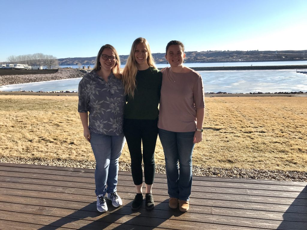 Danielle, Kaitlyn, and Anna at the 2020 Wildlife Annual Meeting in Oacoma, SD